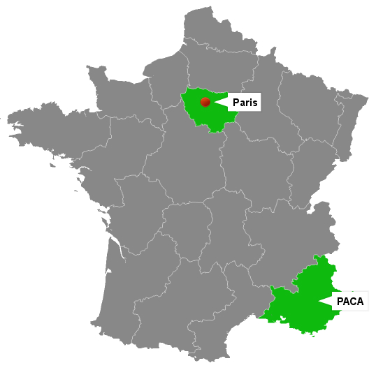 Carte de France représentant l'implantation géographique E-Good : Paris et PACA.